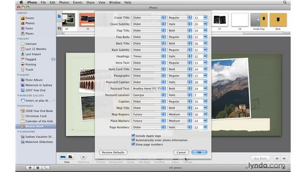 Creating a custom book: iPhoto '09 Essential Training