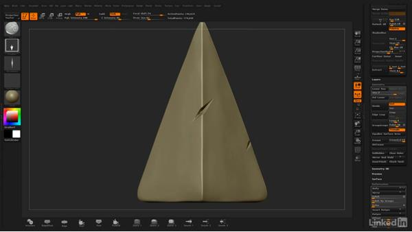 Sharpening edges and adding dents: ZBrush: Stylized Sculpting