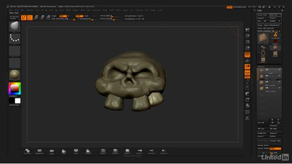 Duplicating the teeth and merging the subtools: ZBrush: Stylized Sculpting