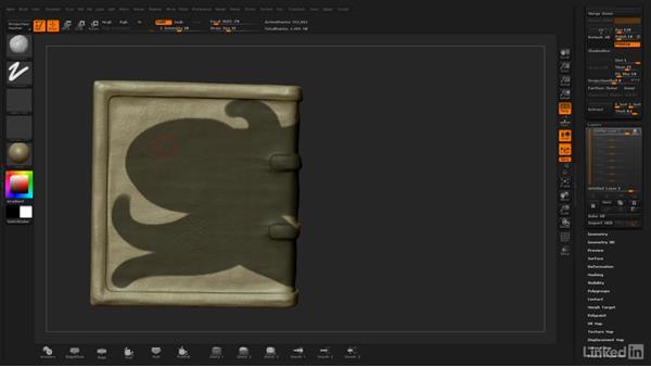 Using masking to isolate the creature's shape: ZBrush: Stylized Sculpting