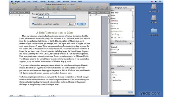 Creating styles: Pages '09 Essential Training