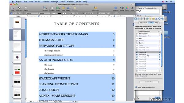 Creating a table of contents: Pages '09 Essential Training