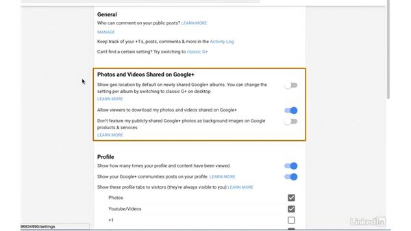 General, photo, and video settings: Google+ for Business