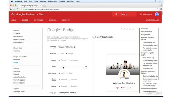 Adding a Google+ badge to your website: Google+ for Business