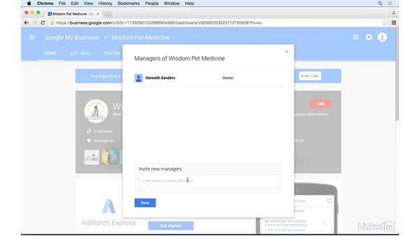 Adding additional page managers: Google+ for Business