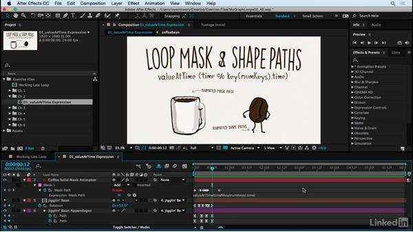 Using valueAtTime expression to substitute for loopOut: Motion Graphics Loops 02: After Effects Techniques