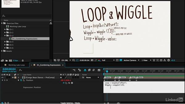 Combining expressions: loopOut and wiggle: Motion Graphics Loops 02: After Effects Techniques