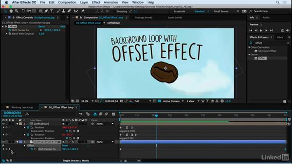 Offset effect for a repeating background loop: Motion Graphics Loops 02: After Effects Techniques