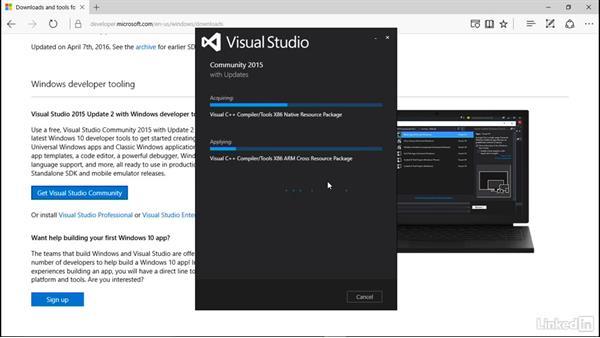 Download and install Visual Studio Community edition: Learning Universal Windows App Development