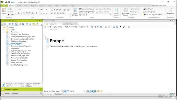 Managing existing topics: MadCap Flare 12 Essential Training