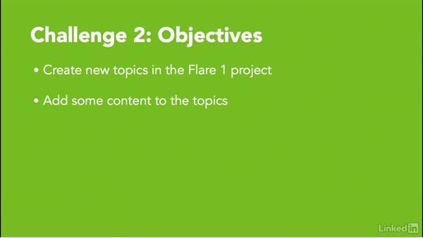 ✓ Challenge 2: Create new topics: MadCap Flare 12 Essential Training
