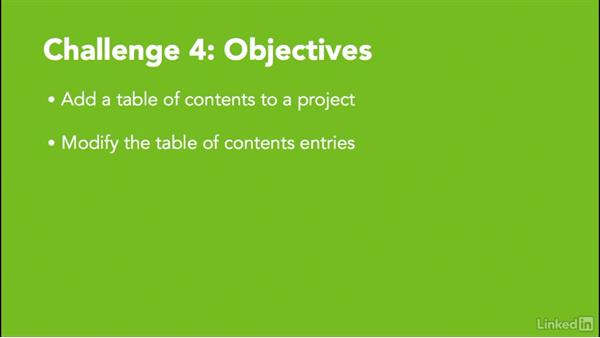 ✓ Challenge 4: Add a table of contents: MadCap Flare 12 Essential Training