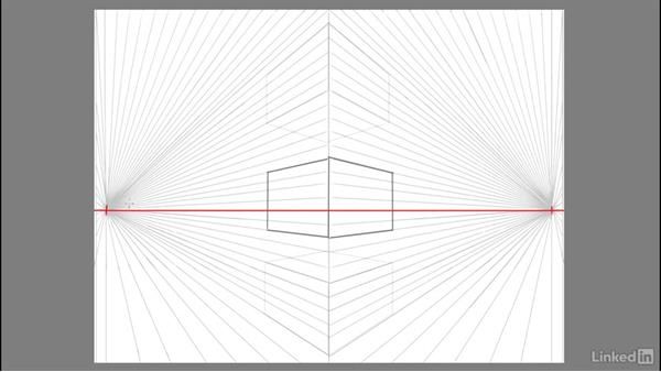 Drawing a 3D symmetrical cube in space: Drawing 2-Point Perspective