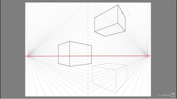 Drawing a 3D asymmetrical cube in space: Drawing 2-Point Perspective