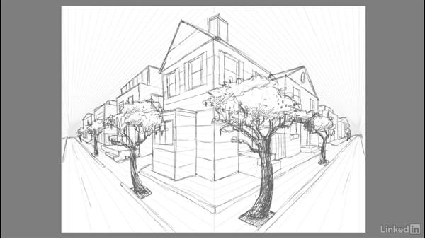 Adding environment: Trees, lightposts, and powerlines: Drawing 2-Point Perspective