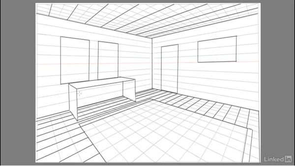 Adding floorboards and furniture: Drawing 2-Point Perspective