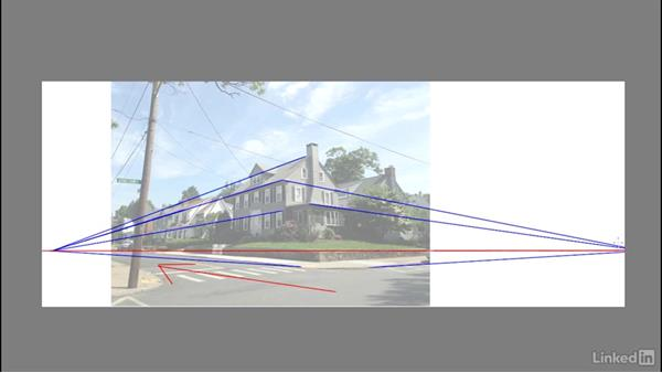 Finding a composition and sighting angles: Drawing 2-Point Perspective