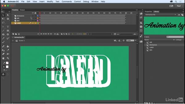Using the Timeline and keyframes: Adobe Animate CC for Web Designers
