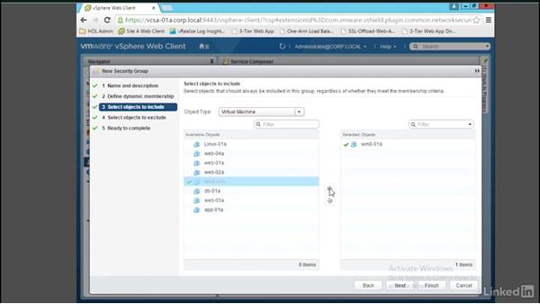 Configure Service Composer security groups: Learn VMware NSX: Security