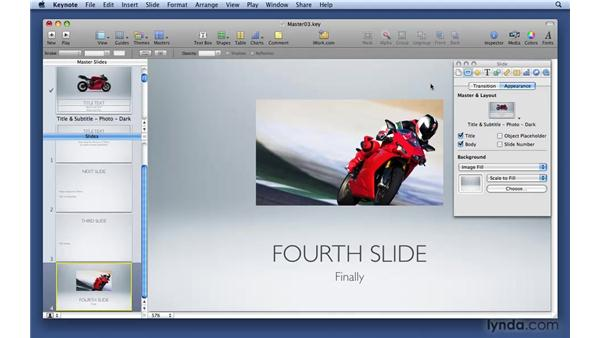 Creating a media placeholder on a master slide: Keynote '09 Essential Training