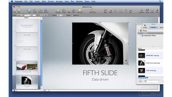 Creating an object placeholder on a master slide: Keynote '09 Essential Training
