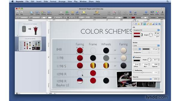 Working with advanced shapes and colors: Keynote '09 Essential Training