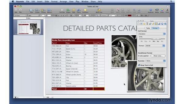 Building conditional formatting and calculations: Keynote '09 Essential Training