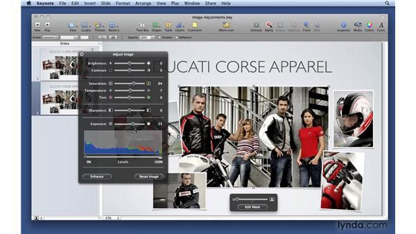 Applying image adjustments: Keynote '09 Essential Training