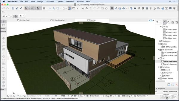 Opening and navigating a project: ArchiCAD Essential Training
