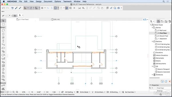 Using the Trace and Reference tool: ArchiCAD Essential Training