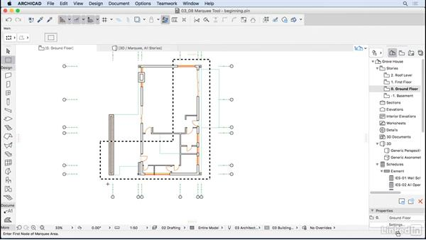 Using the Marquee tool: ArchiCAD Essential Training