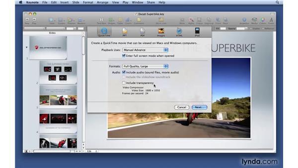 Sharing a Keynote presentation as a QuickTime movie: Keynote '09 Essential Training