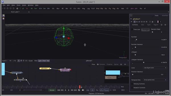 Creating an emitter and shaping the particles: Creating Motion Graphics with Fusion