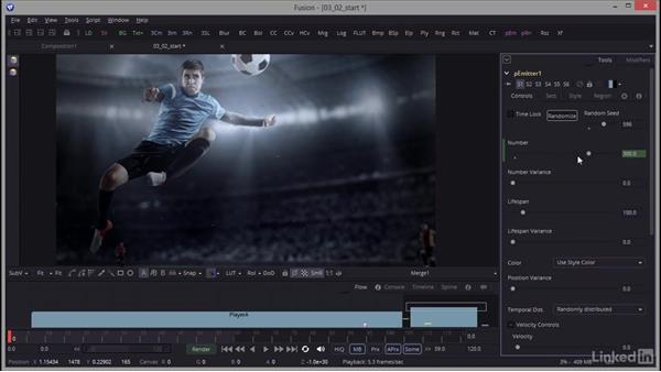 Adjusting particle properties: Creating Motion Graphics with Fusion