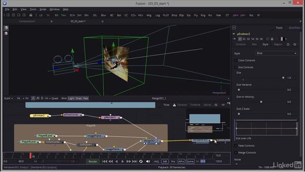 Adjusting the particle system and adding forces: Creating Motion Graphics with Fusion