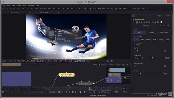 Creating and adjusting spotlights to showcase elements: Creating Motion Graphics with Fusion
