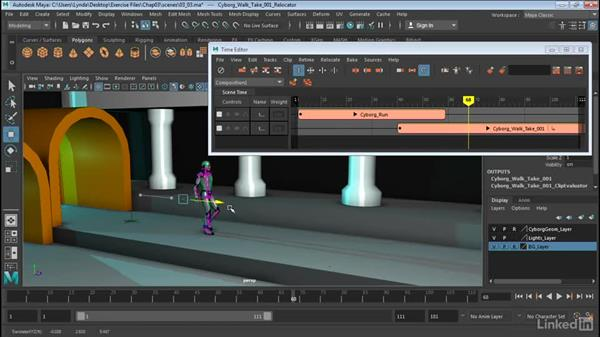 Align clips with relocators: Maya: Time Editor