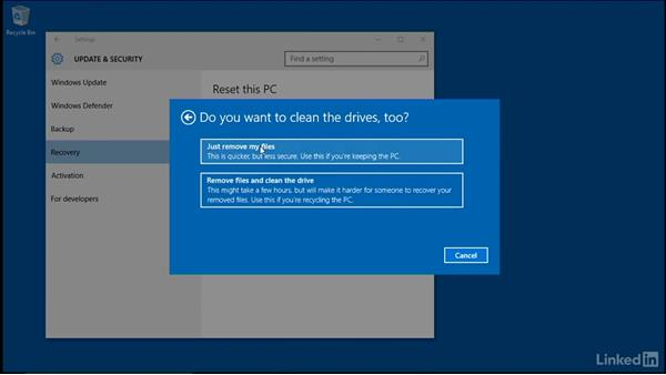 Windows reset within Windows: Windows 10: Manage Updates and Recovery