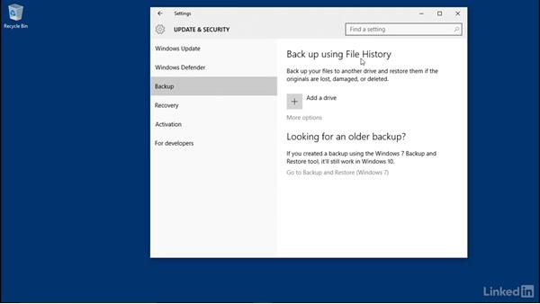 File History overview: Windows 10: Manage Updates and Recovery