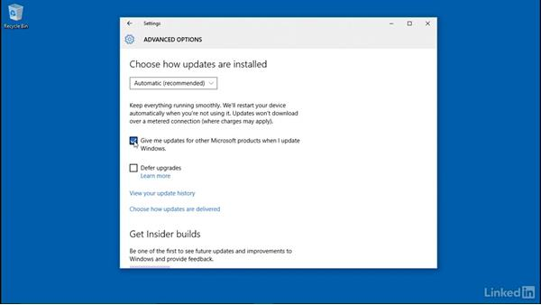 Configure Windows update and restart schedules: Windows 10: Manage Updates and Recovery