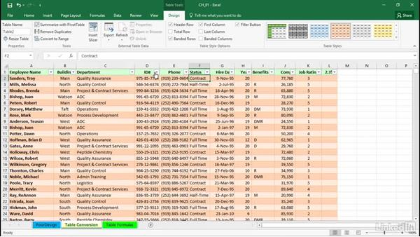 Converting lists to tables: Excel 2016: Managing and Analyzing Data