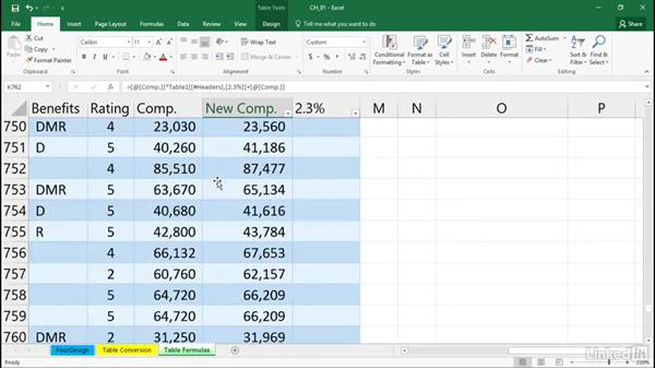 Using formulas in tables: Excel 2016: Managing and Analyzing Data