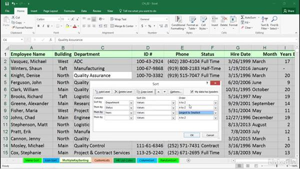 Multiple-key sorting: Excel 2016: Managing and Analyzing Data