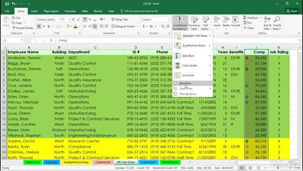 Sorting by cell color, font color, or cell icon: Excel 2016: Managing and Analyzing Data