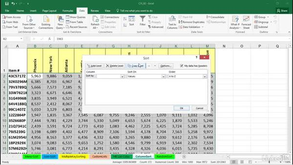 Sorting columns (sorting left-to-right): Excel 2016: Managing and Analyzing Data