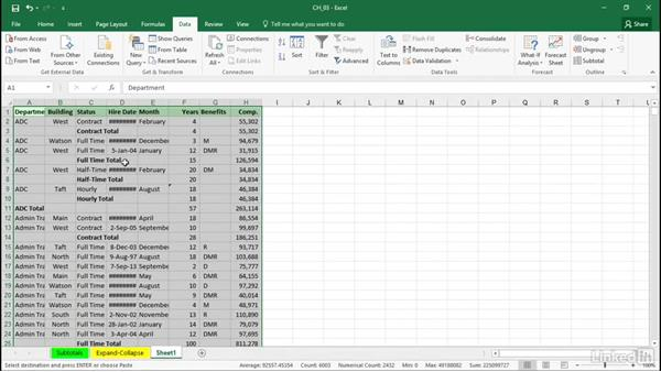 Expanding and collapsing with grouping and outlining symbols: Excel 2016: Managing and Analyzing Data