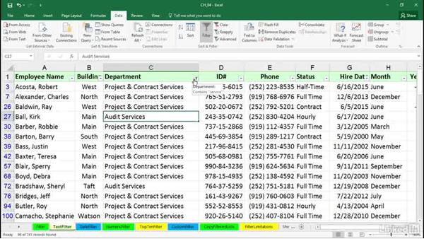 Using text filters: Excel 2016: Managing and Analyzing Data