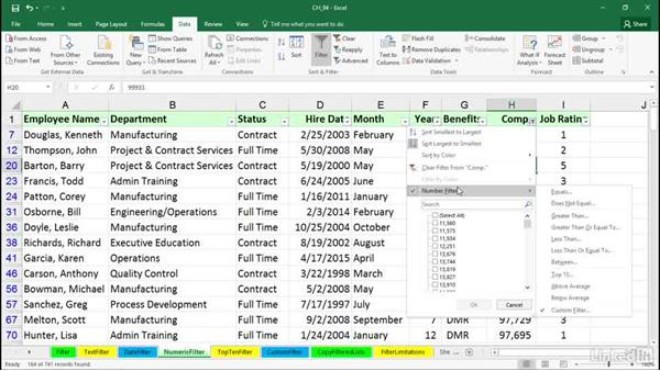 Using numeric filters: Excel 2016: Managing and Analyzing Data