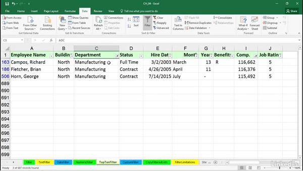 Using the Top Ten (value or percent) option: Excel 2016: Managing and Analyzing Data
