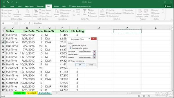 Using Advanced Filter to create unique lists from repeating field data: Excel 2016: Managing and Analyzing Data